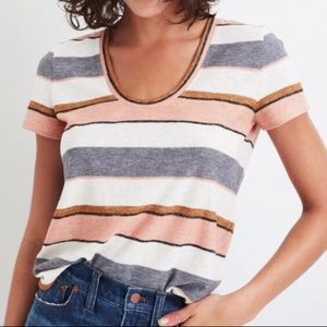 Madewell Pink and Gray Thick-Stripe Tee